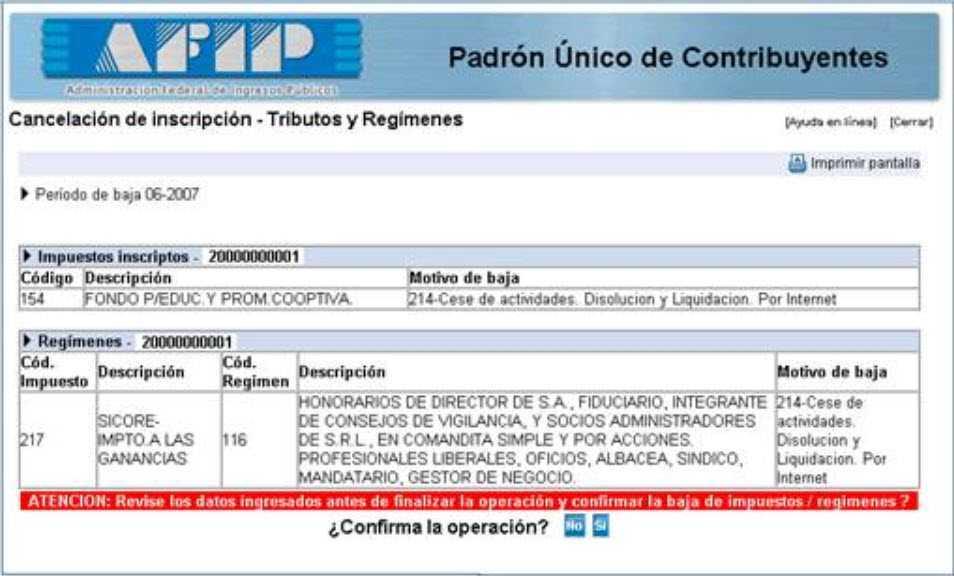 Cancelacion de impuestos y regimenes AFIP