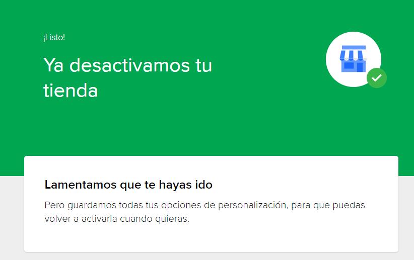 Pantalla de confirmación de desactivacion MercadoLibre