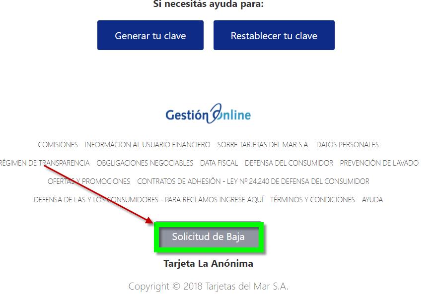 Tarjeta La Anónima baja online
